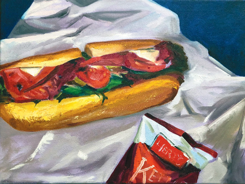 painting of a sub sandwich