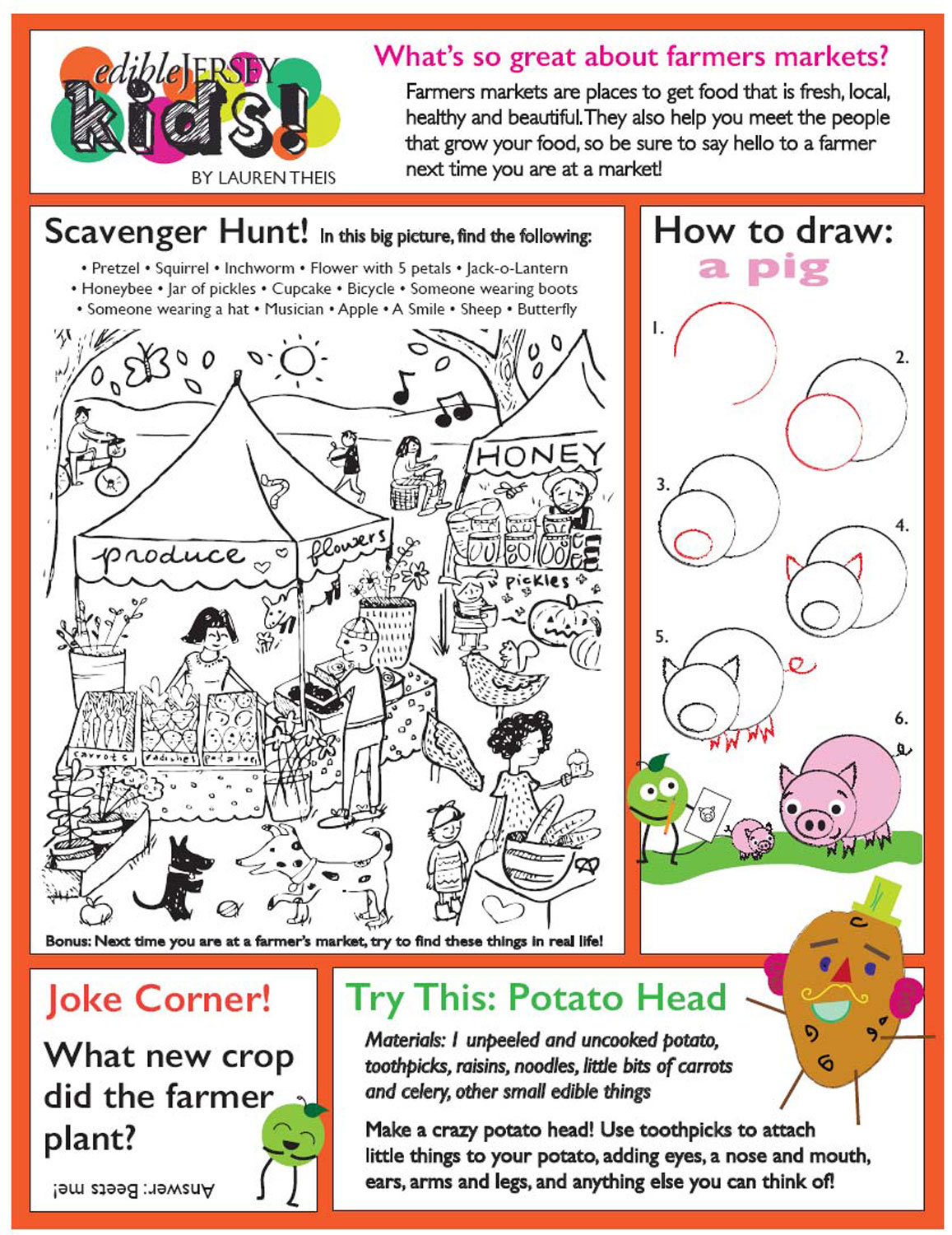 Summer Farmers' Market Worksheet for Kids | Edible Jersey