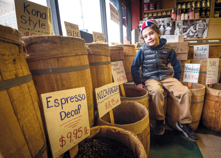 Zach Sommer (10), son of co-owner, Scott Sommer, T.M. Ward Coffee Co., a four-generation family business. Zach says he'll be the fifth