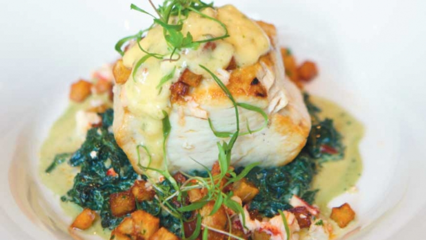 Swordfish with hollandaise, creamed nettles and lobster hash