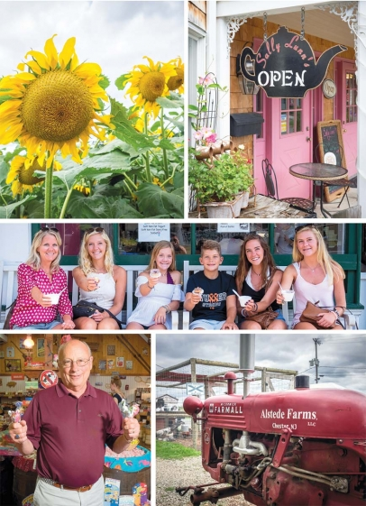 clockwise from top left: Sunflower maze at Alstede Farms; Sally Lunn's serves tea and scones; All smiles at Taylor's Ice Cream Parlor; Hayrides and more at Alstede Farms; Owner Steve Jones showing off at Black River Candy Shoppe