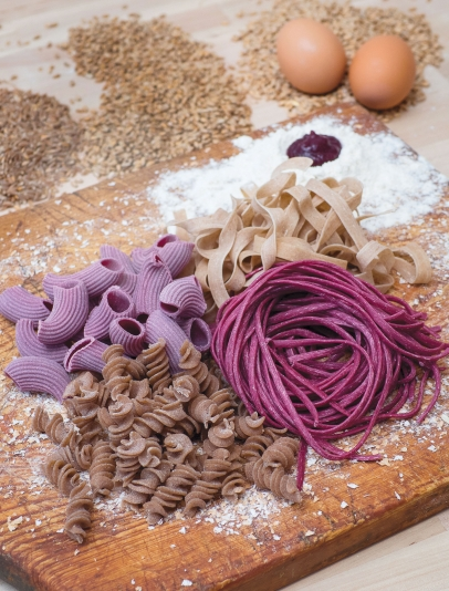 four types of homemade pasta