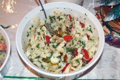 cold bacala salad with garlic and cherry peppers