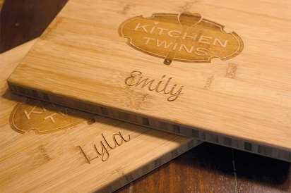 The girls' personalized cutting boards