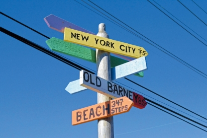 Colorful signs point your way around town