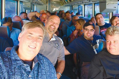 Erwin Benz (left) and John Fox (right) with a busload of New Jersey Hot Dog Tour goers