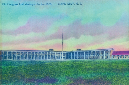 A postcard with an image of the 'second Congress Hall', before it was destroyed by fire in 1878