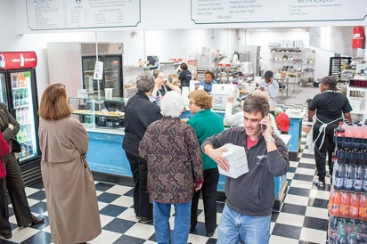 The lunch rush at Sally Bell's new location