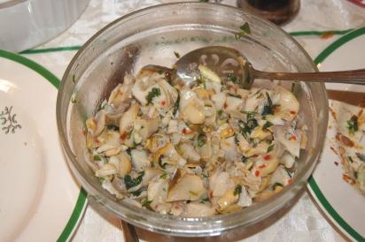 scungilli salad with mushrooms