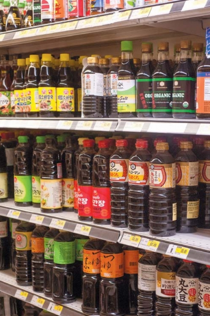 A portion of the large variety of soy sauces at H Mart
