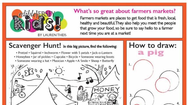 Edible jersey kids scavenger hunt farmers market worksheet