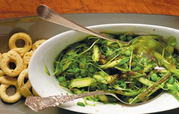 Asparagus, Peas, Pea Shoot Salad